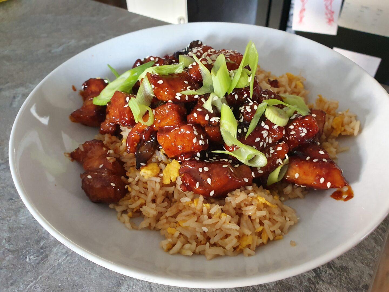 sticky pork with egg fried rice